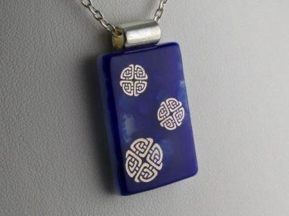 Cobalt Celtic Knots, fused glass necklace designed by Michelle Copeland at ThistleGlass.com