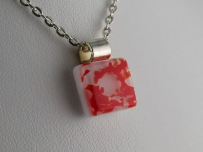 Red, fused glass necklace designed by Michelle Copeland at ThistleGlass.com