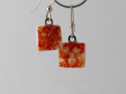 Red Crush Square Earrings, Fused Glass Jewelry by Michelle Copeland at www.ThistleGlass.com