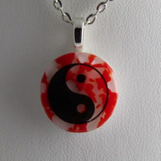 Yin Yang, fused glass necklace designed by Michelle Copeland at ThistleGlass.com