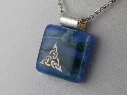 Platinum Celtic, Blue fused glass necklace designed by Michelle Copeland at ThistleGlass.com