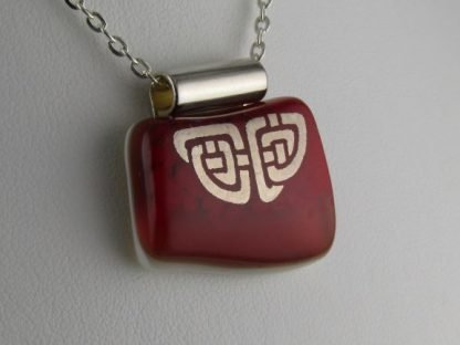 Red Celtic II, fused glass necklace designed by Michelle Copeland at ThistleGlass.com