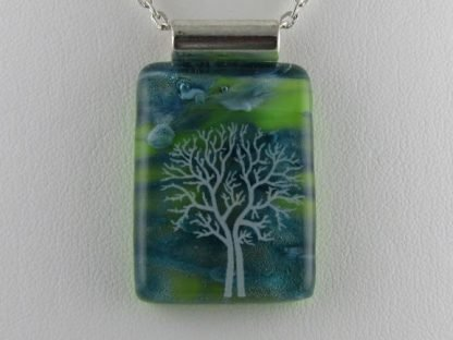 Scenic Tree, fused glass necklace designed by Michelle Copeland at ThistleGlass.com