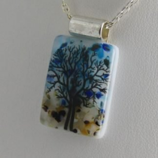 Earth, Black Tree, fused glass necklace designed by Michelle Copeland at ThistleGlass.com