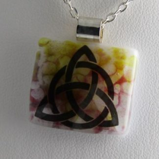 Pastel Celtic, fused glass necklace designed by Michelle Copeland at ThistleGlass.com