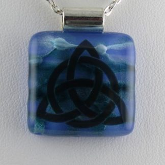 Blue Celtic, fused glass necklace designed by Michelle Copeland at ThistleGlass.com