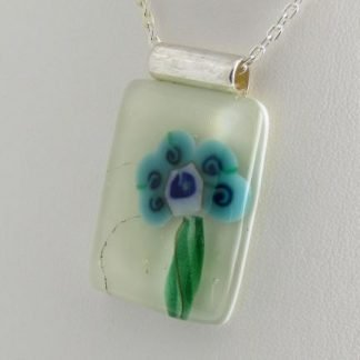Blooms – Turquoise, fused glass necklace designed by Michelle Copeland at ThistleGlass.com