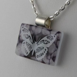 Purple Butterfly, fused glass necklace by Michelle Copeland at ThistleGlass.com