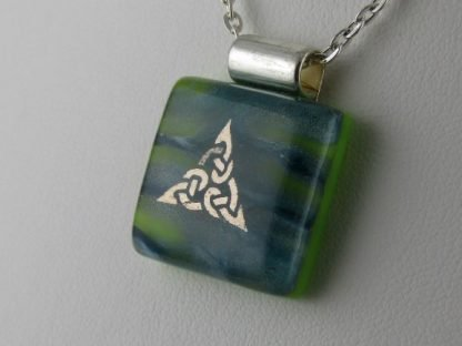 Platinum Celtic, Green fused glass necklace designed by Michelle Copeland at ThistleGlass.com
