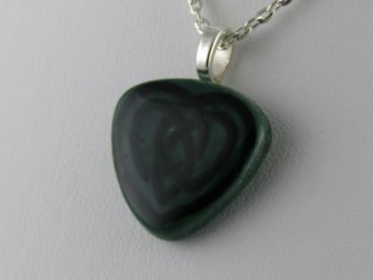 Green Celtic Heart, fused glass necklace by Michelle Copeland at www.ThistleGlass.com