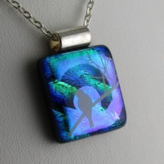 Dichroic White Bird, fused glass necklace designed by Michelle Copeland at ThistleGlass.com
