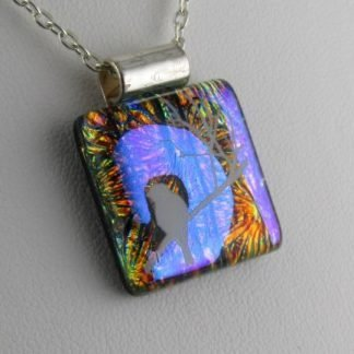 Dichroic White Bird I, fused glass necklace designed by Michelle Copeland at ThistleGlass.com