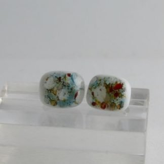 Mixed Crush Post Earrings, Fused Glass Jewelry by Michelle Copeland at www.ThistleGlass.com