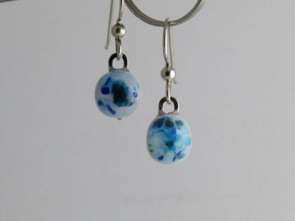 Blue Crush Earrings, Fused Glass Jewelry by Michelle Copeland at www.ThistleGlass.com