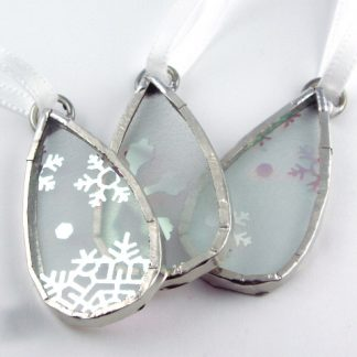 Stained Glass Snowflake Ornaments by Artist Michelle Copeland at ThistleGlass.com