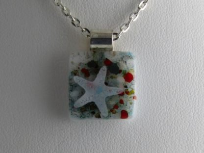 Starfish Necklace, fused glass designed by Michelle Copeland at ThistleGlass.com