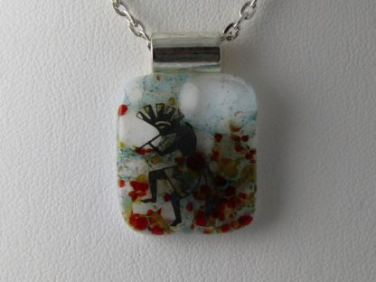 Kokopelli, fused glass necklace by Michelle Copeland at ThistleGlass.com