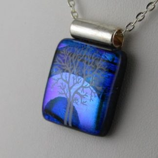 White Tree III, dichroic fused glass necklace designed by Michelle Copeland at ThistleGlass.com