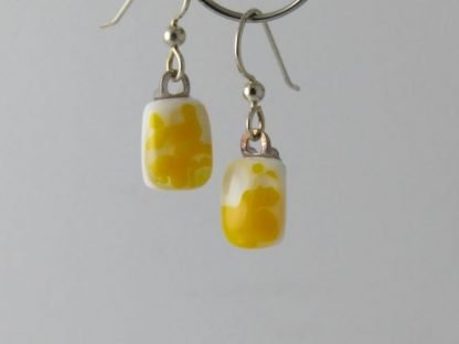Yellow Crush Earrings, Fused Glass Jewelry Designed by Michelle Copeland at ThistleGlass.com