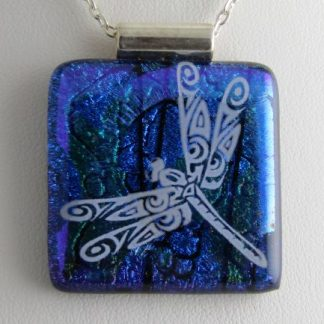Blue Dichroic Dragonfly, Large, fused glass necklace designed by Michelle Copeland at ThistleGlass.com