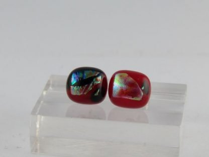 Red Dichroic Earrings, Fused Glass Jewelry by Michelle Copeland at www.ThistleGlass.com