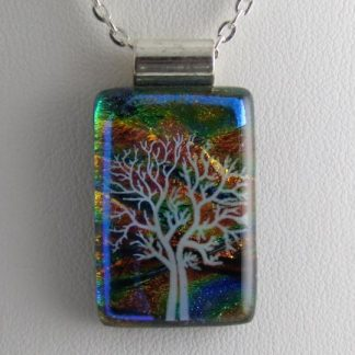 White Tree II, dichroic fused glass necklace designed by Michelle Copeland at ThistleGlass.com