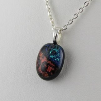 Scribe, Dichroic Small Oval I Fused Glass Necklace Designed by Michelle Copeland at ThistleGlass.com
