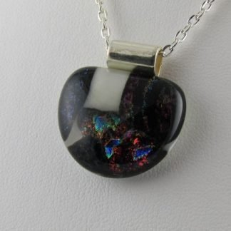 Scribe, Dichroic Half Round Fused Glass Necklace Designed by Michelle Copeland at ThistleGlass.com