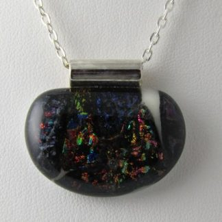 Scribe, Large Dichroic Half Round, Fused Glass Necklace Designed by Artist Michelle Copeland at ThistleGlass.com