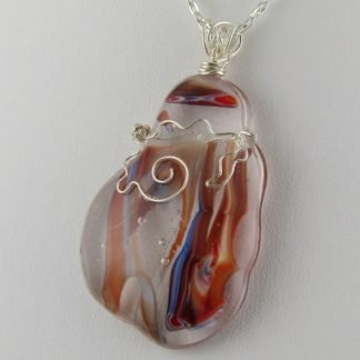 Floral Wrap, Large Pendant, Fused Glass Necklace Designed by Michelle Copeland at ThistleGlass.com