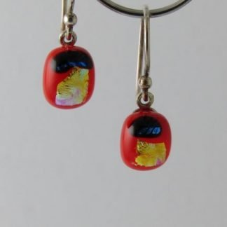 Petite Red Dichroic Earrings, Fused Glass Jewelry by Michelle Copeland at www.ThistleGlass.com