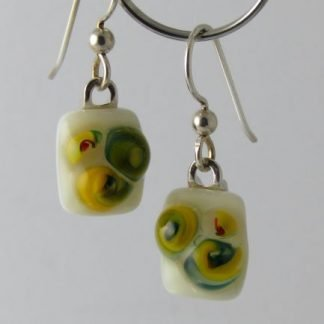 Bloom Yellow Earrings, Glass Jewelry by Michelle Copeland at www.ThistleGlass.com