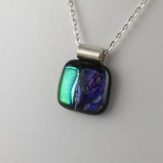 Playhouse Green-Purple Dichroic Fused Glass Necklace by Michelle Copeland at ThistleGlass.com