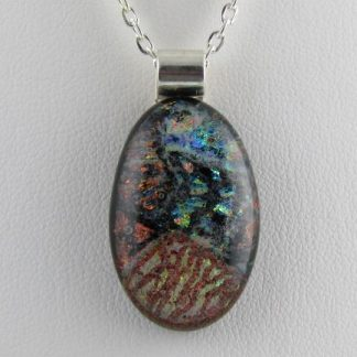 Scribe Dichroic Oval Fused Glass Necklace by Michelle Copeland at ThistleGlass.com