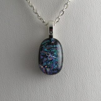 Scribe, Dichroic Small Oval III, Fused Glass Necklace Designed by Michelle Copeland at ThistleGlass.com