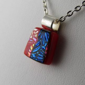 Carved Red Mini Dichroic Pendant III, fused glass necklace by Michelle Copeland at ThistleGlass.com