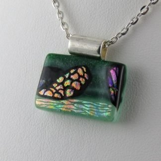 Carved Rectangle, Fused Glass Necklace Designed by Michelle Copeland at ThistleGlass.com