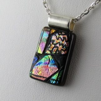 Carved Rectangle Rainbow, fused glass necklace Designed by Michelle Copeland at ThistleGlass.com