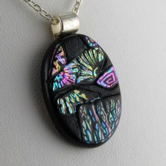 Carved Dichroic Oval Pendant, Fused Glass Necklace by Michelle Copeland at ThistleGlass.com