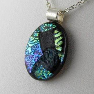 Carved Oval Dichroic Fused Glass Necklace Designed by Michelle Copeland at ThistleGlass.com