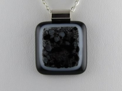 Black and White Pendant, fused glass necklace designed by Michelle Copeland at ThistleGlass.com