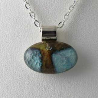Abalone Mini Pendant, Fused Glass Necklace Designed by Michelle Copeland at ThistleGlass.com