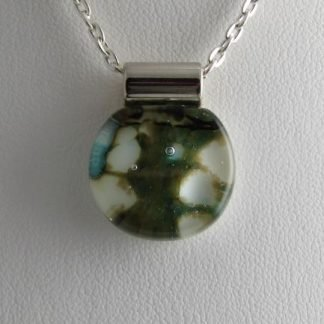Abalone Round Mini Pendant, Fused Glass Necklace Designed by Michelle Copeland at ThistleGlass.com