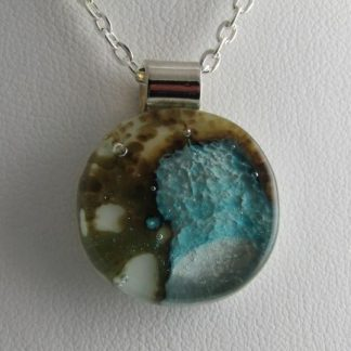 Abalone Round Pendant, Fused Glass Necklace Designed by Michelle Copeland at ThistleGlass.com