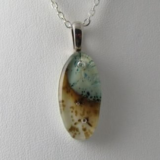 Abalone Oval Pendant II, Fused Glass Necklace Designed by Artist Michelle Copeland at ThistleGlass.com