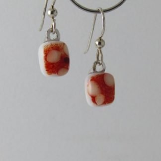 Red Crush Earrings, Fused Glass Jewelry by Michelle Copeland at www.ThistleGlass.com