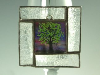 Tree Stained Glass Mini Window - by Artist Michelle Copeland at ThistleGlass.com