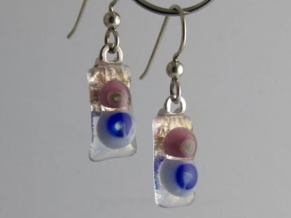 Bloom Pink and Blue Earrings, Glass Jewelry by Michelle Copeland at www.ThistleGlass.com