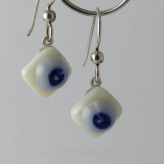 Bloom Ivory Blue Earrings, Glass Jewelry by Michelle Copeland at www.ThistleGlass.com