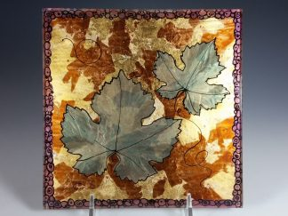 Grape Leaf Verre Eglomise Glass Wall Tile - Designed by Artist Michelle Copeland at ThistleGlass.com